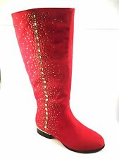 Italina BC5726 Suede Round Toe Low Heel Knee High Dressy Boots Choose Sz/Color