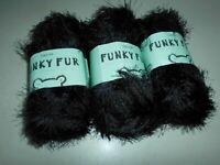 3 x 50 gram balls 214  BLACK Sirdar Funky Fur DK