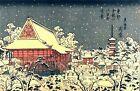 Asakusa Temple in Winter Snow Scene by Keisai Eisen Japanese Woodblock Art Print