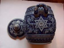 Jugendstil Steinzeug Bowle mit Spruch - Davidstern Original um 1900 Judica