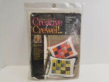 Vintage Erica Wilson 1973 Columbia Minerva Geometric Crewel Pillow Kit 7311 Nos