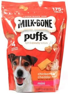 1 Count Milk Bone Puffs Chicken & Cheddar Flavor Mini Dog Treats 8oz BB 3-11-22
