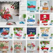 Camión De Navidad Conjunto De Cortina De Ducha Tela Impermeable Baño Ganchos libre de Decoración