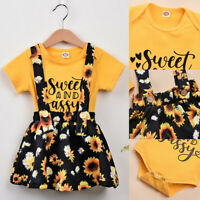 ❤️2PCS Infant Newborn Baby Girls Summer Romper Tops Jumpsuit Skirts Outfits Sets