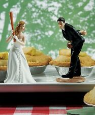 """Baseball"" Couple Wedding Cake Topper Funny Pitching Groom Cute Home Run Bride"