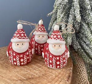 Set Of 3 Ceramic Nordic Santa Father Christmas Tree Hanging Decorations Ornament