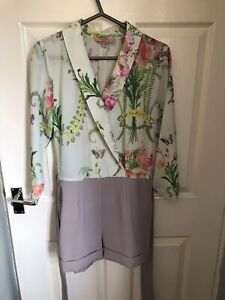 STUNNING & GENUINE LADIES FLORAL TED BAKER SUMMERY PLAYSUIT IN SIZE 1 (8/10)
