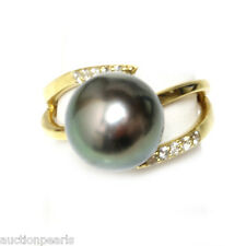 Diamond Tahitian Pearl Ring Black Green 18kt  Gold 12mm