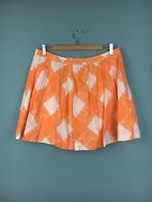 Boden Orange White Linen Retro Check Pleated Mini Skirt Size 14 - B38