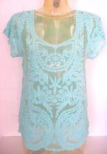 Tunique ♥ PARIS ET MOI ♥ T S / M 36 38 40 dentelle bleu top  tee shirt haut sexy