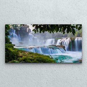 Tempered Photo Glass Print Decoration Wall  100x50 Waterfall Jungle Landscape
