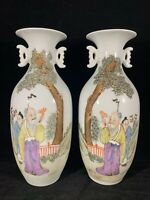 Chinese Antique Famille Rose Porcelain Vase Pair With Old Man And Poetry