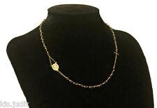 Bellissima collana rosario modello girocollo in puro acciaio colore oro