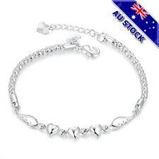 925 Sterling Silver Filled Lovely Angel Hearts Charm Bracelet Chain