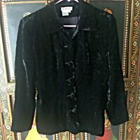 Talbots Women's Blazer Jacket Size 4 Black Crushed Velvet Lined Button Down EUC