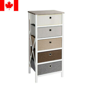 5-Drawer Storage Organizer Closet Bedroom Nightstand Living Room Entryway Table
