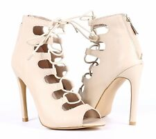 "Beige Color Lace Up Back Zipper Open Toe Sandals Womens 4.5"" High Heels Size 6"