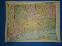 Vintage 1893 CONNECTICUT MAP Old Antique Original Atlas Map ~