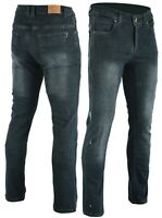 Men's Motorcycle Stone wash Grey Stretch Jeans Lined with DuPont™ KEVLAR® fiber
