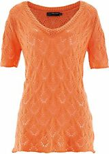 Damen schicke Ajour-Pullover,V-Ausschnitt,nektarine,Gr.56/58,NEU