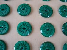 Vintage Buttons -  24 Green Pin- Wheel Carved 2-hole Casein Buttons - France