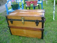 New listing Antique Steamer Trunk Dome top Wood Chest Lock Oak Slat 1880s