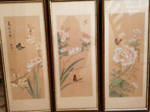 3 Japanese Watercolour Pictures Hand Painted. Signed Japanese Script.
