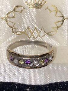 vintage 9ct gold ladies Suffragette  ring size K 375 hallmarked