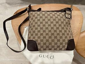 Gucci Brown GG Canvas Crossbody Messenger Shoulder Bag Purse
