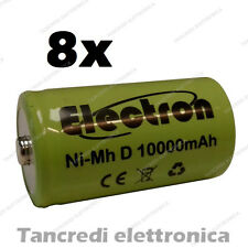 8pz Pila Batteria ricaricabile Ni-Mh NiMh torcia D 1,2V 10000mAh 10Ah torcione