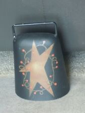 Vintage Antique Metal Cow Bell Riveted Iron Clapper Hand Forged