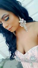 CHANDELIER Iridescent Silver Clip on Crystal earrings drag queen beauty pageant