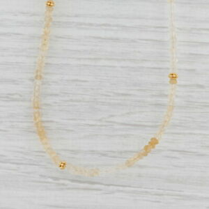 New Nina Nguyen Harmony Necklace Citrine Bead Sterling Gold Vermeil Long Layer
