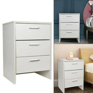 Modern Bedside Table Cabinet Chest of Drawers Nightstand with 3 Drawers White