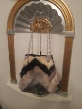FAUX FUR LADIES BUCKET HANDBAG. MIXED PRINT. FAST DELIVERY.