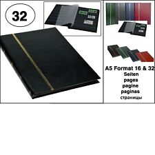 Stockbook DIN A5, 32 black pages, non-padded cover, black