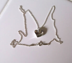 TIFFANY & CO STERLING SILVER ELSA PERETTI CARVED HEART PENDANT W/NECKLACE  16