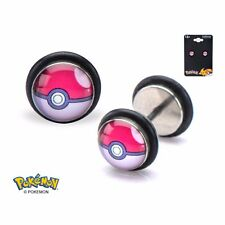 Pokemon Pokeball Fronts 18g SS Faux Plugs