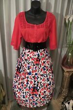 VINTAGE Style 50'S ~ BLOUSE/SKIRT/BELT COMBO * Size 14 * ROCKABILLY *