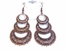 BOHEMIAN EARRINGS ANTIQUE COPPER TONE FILIGREE Chandelier earrings 4 INCH L