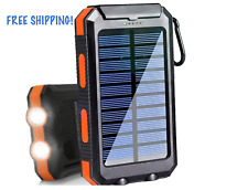 Solar Charger 20000mAh Portable Outdoor Waterproof Mobile Power Bank flashlight!