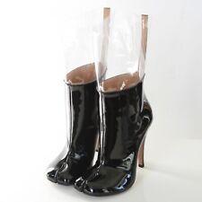 MAISON MARTIN MARGIELA split toe patent leather and clear pvc tabi boots 40 NEW