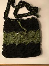 Crochet & Bead Lime Green Handbag Purse Shoulder Bag Crossbody
