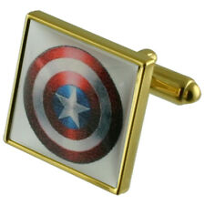 Captain America Hero Gold Square Cufflinks With Engraved Personalised Case
