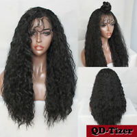 200% Density Long Loose Wave Curly Synthetic Lace Front Wigs Fashion Black Women