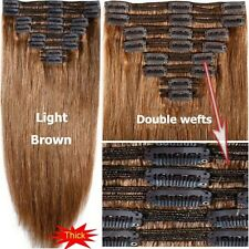 Thick Double Weft Clip In Real Remy Human Hair Extension Full Head Ombre US F306
