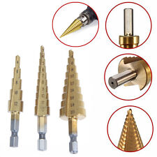 3pc Large Titanium Step Cone Drill HSS Bit Set Hole Cutter 4-12mm 4-20mm 3-12mm