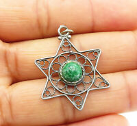 925 Sterling Silver - Vintage Eilat Stone Wire Twist Detail Star Pendant - P8042