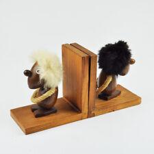 2 Buchstützen - Optimist & Pessimist - Teak - Teakholz - Vintage Bookends