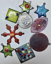 Vintage Enamel Mixed Random Copper Enamel Pendants, Charms & Pieces For Crafting